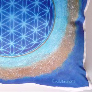 Coussin Fleur de Vie bleue