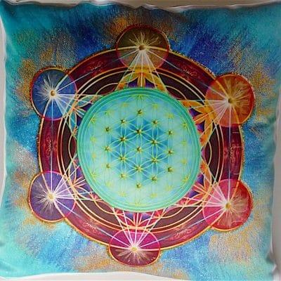 Coussin Fleur de vie Cube de Métatron