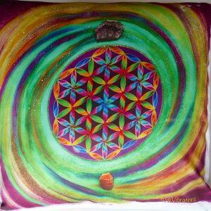 Coussin Fleur de vie et spirale