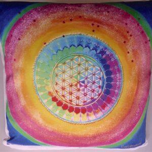 Coussin Fleur de vie multicolore