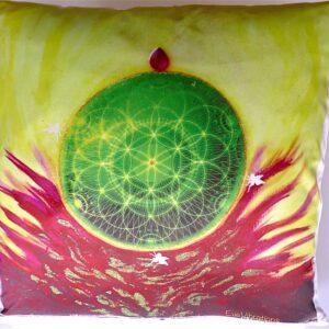 Coussin de géométrie sacrée Graine de Vie verte