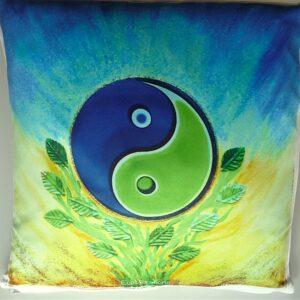 Coussin de géométrie sacrée Tao Yin-Yang bi-color