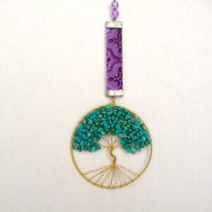 Pendule Arbre de Vie turquoise