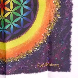 Tissus mural de géométrie sacrée Fleur de vie couleur Chakras
