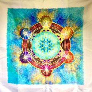 tenture murale géométrie sacrée Fleur de Vie et cube de métatron