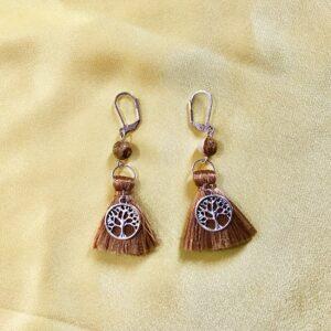 Boucles d'oreilles Arbre de vie avec jaspe et pompon