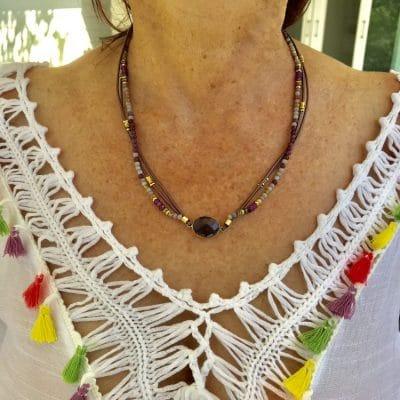 Bracelet Collier chemin spirituel en Améthyste (Version Collier)