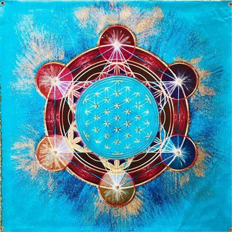 Tenture murale plastifiée fleur de vie et cube de métatron