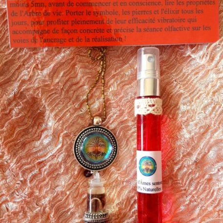 pendentif d'olfactothérapie chakra 1 Muladhara avec son spray de synergie arbre de vie