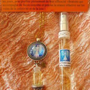 pendentif d'olfactothérapie chakra 2 swadhisthana et son spray de synergie archange Mickaël