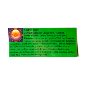 pendentif d'olfactothérapie chakra 4 Anahata avec son spray de synergie Abondance