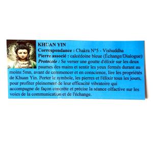 pendentif d'olfactothérapie chakra 5 Vishuddha avec son spray de synergie Khuan yin