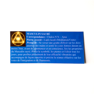 pendentif d'olfactothérapie chakra 6 Ajna avec son spray de synergie masculin sacré