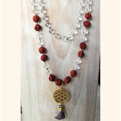 Mala Tibétain en cristal de roche, rudraksh et fleur de vie dorée