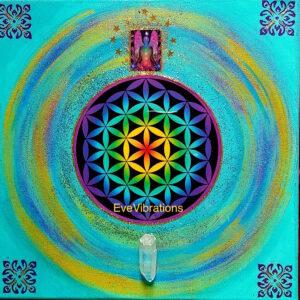 Tableau d'harmonisation «élévation harmonie» fleur de vie et cristal de roche.