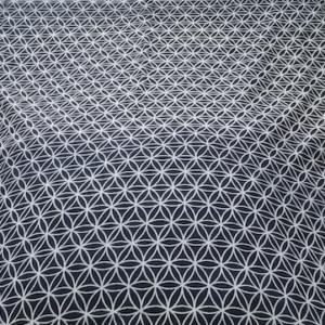 Tenture, tissus fleur de vie en coton avec pompons