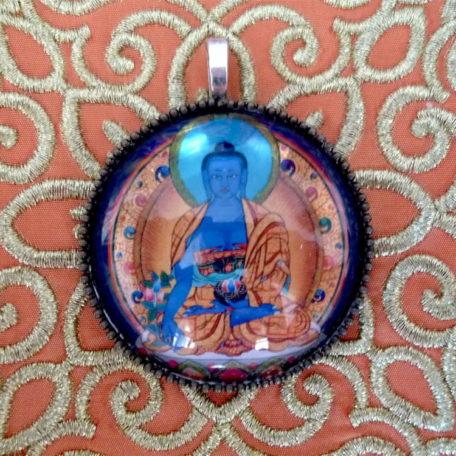 Médaillon énergétique vibratoire Bouddha bleu