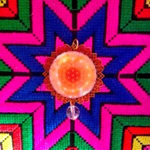 médaillon énergétique fleur de vie feu sacré