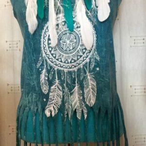 Tee shirt bleu femme mandala plumes sans manches taille unique
