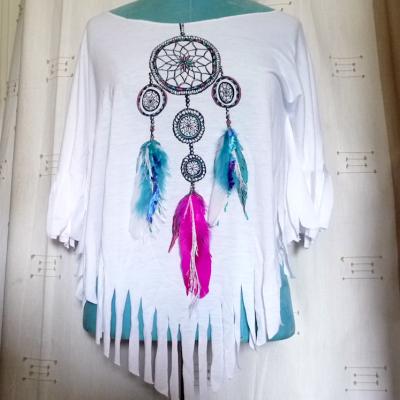 Tee-shirt-féminin-chamane-catch-dream-attrape-rêve-plumes