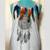 Tee shirt femme gris mandala plumes sans manches taille unique