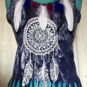 Tee shirt femme indigo mandala plumes sans manches taille unique