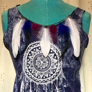 Tee shirt femme indigo mandala plumes sans manches coton taille unique