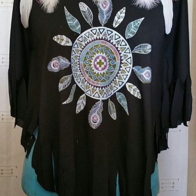 Tee shirt noir femme mandala plumes sans manches taille unique
