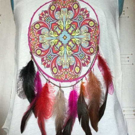 Tee shirt plumes femme sans manches taille uniques