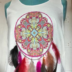Tee shirt plumes femme sans manches taille unique