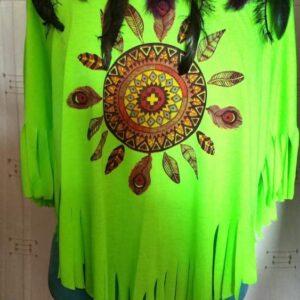 Tee shirt vert femme chamane mandala plumes taille unique