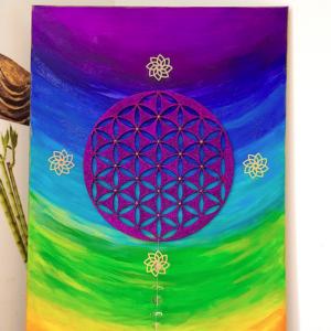 Tableau d'harmonisation fleur de vie arbre de vie et cristal de roche