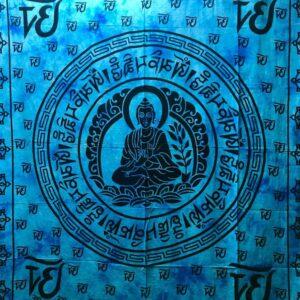 tenture murale bouddha bleu Aum Om