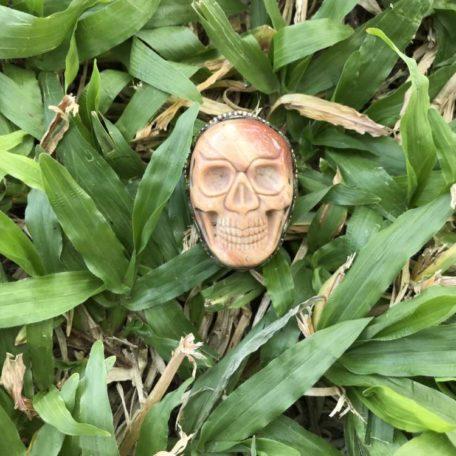 Bague crâne jaspe Tibet
