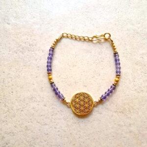 bracelet fleur de vie doré améthyste