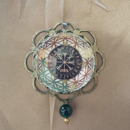 Médaillon runes fleur de vie